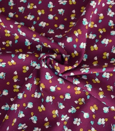 Tissu viscose Fleurettes - Prune