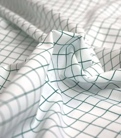 Popeline de coton Grid vert
