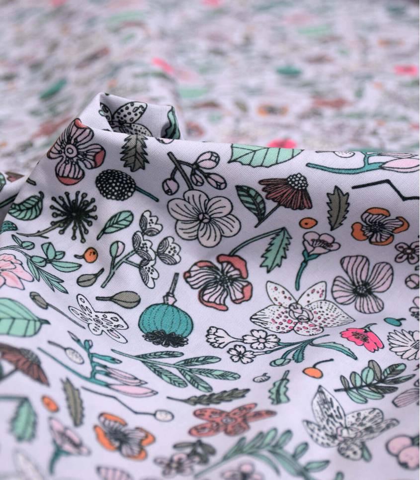 Popeline fleurs sur lilas - Rico design
