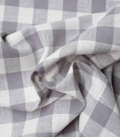 Tissu Lin viscose carreaux - gris