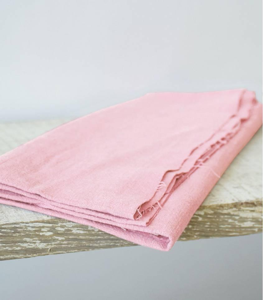 Tissu lin lavé rose candy