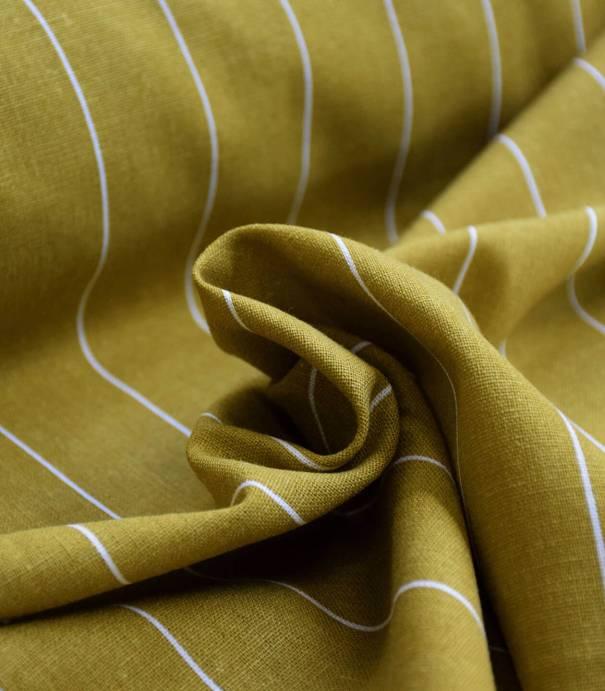 Tissu lin viscose - Rayure transat Anis