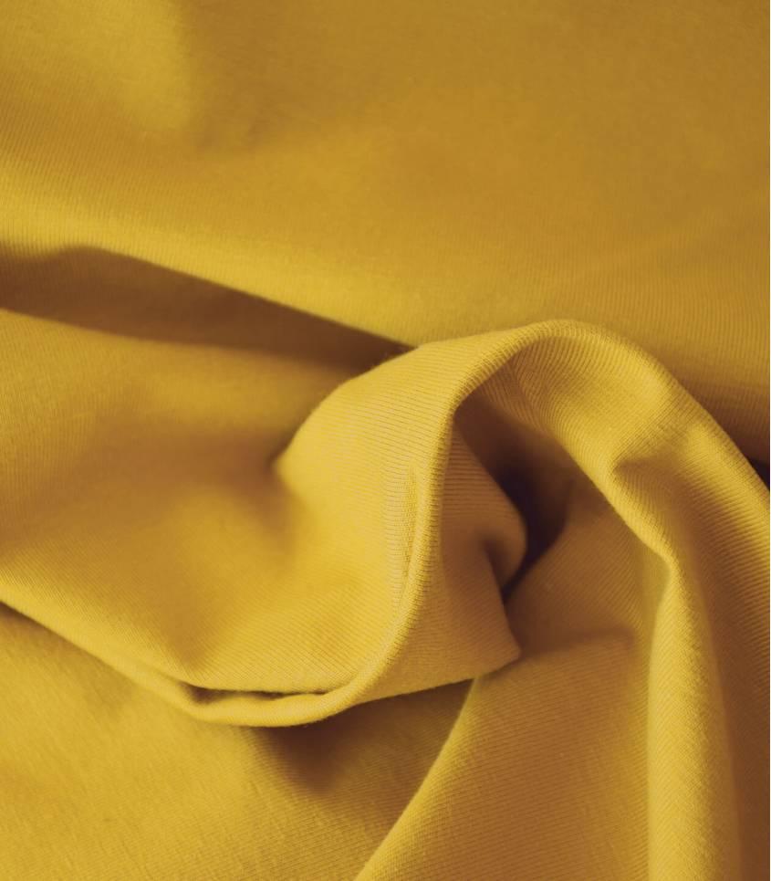 Tissu jersey moutarde - OEKO TEX