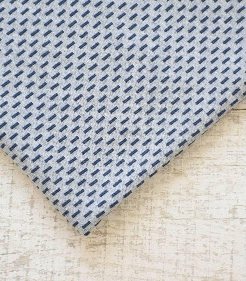 Tissu jersey pointillé - gris / marine