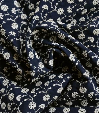 Broderie anglaise Guirlandes de fleurs - marine