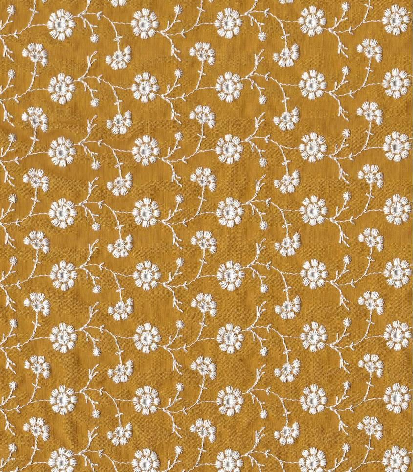 Broderie anglaise Guirlandes de fleurs - moutarde