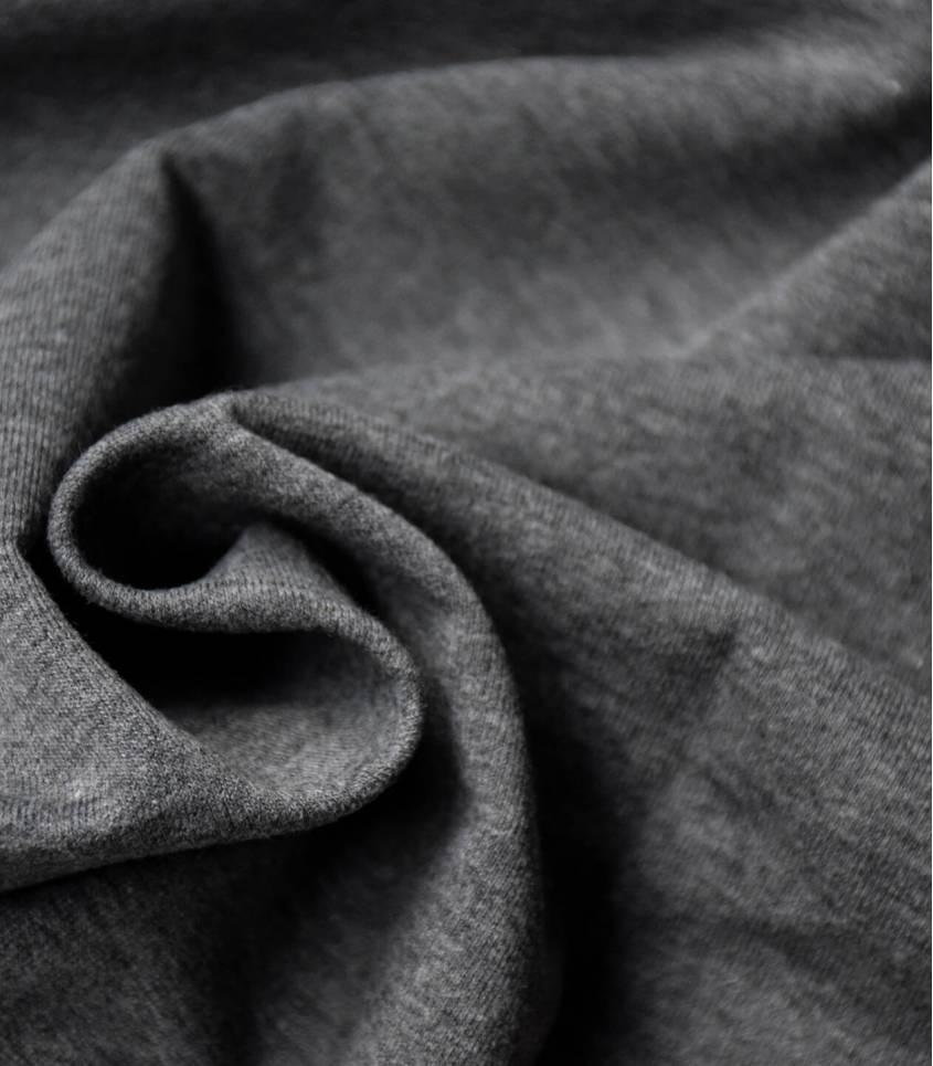 Tissu sweat gris chiné foncé