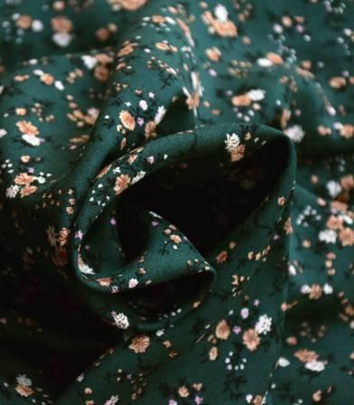 Tissu viscose gypsophile - vert sombre