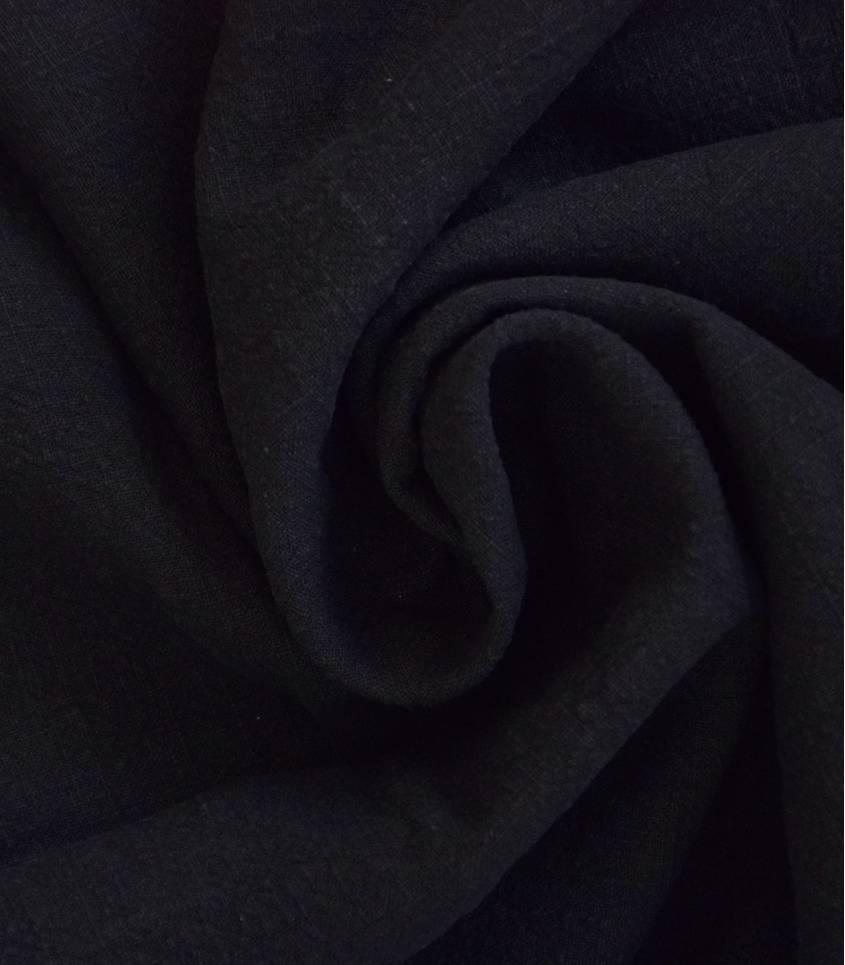 Tissu Lin lavé noir