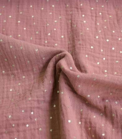 Tissu double gaze rose épice - Pois doré