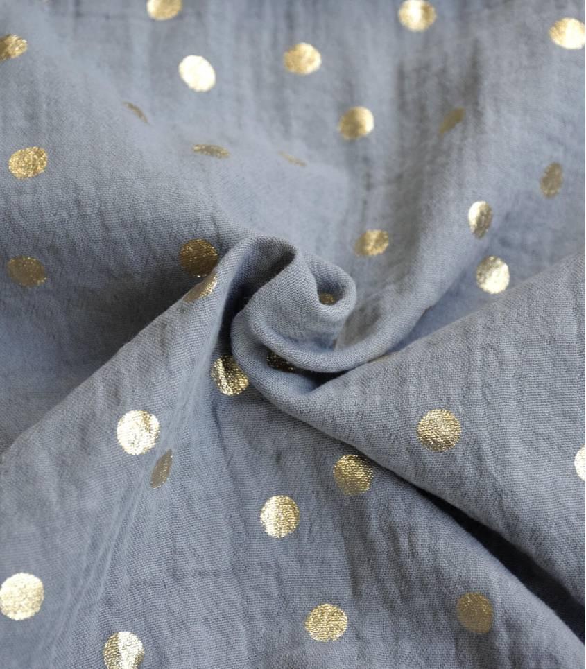 Tissu double gaze granite- Pois doré
