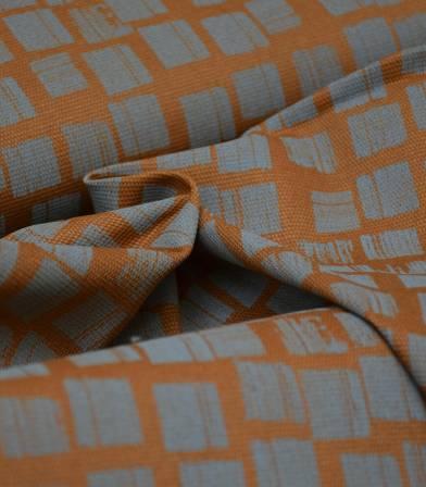 Tissu canvas brown squares grey - Rico Design