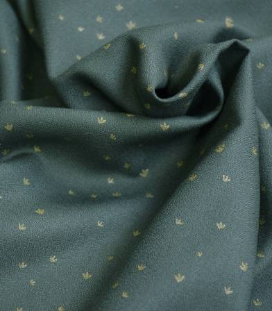 Tissu crêpe de viscose - Golden Flowers Smoke green