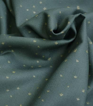 Tissu crêpe de viscose - Golden Flowers Smoke green
