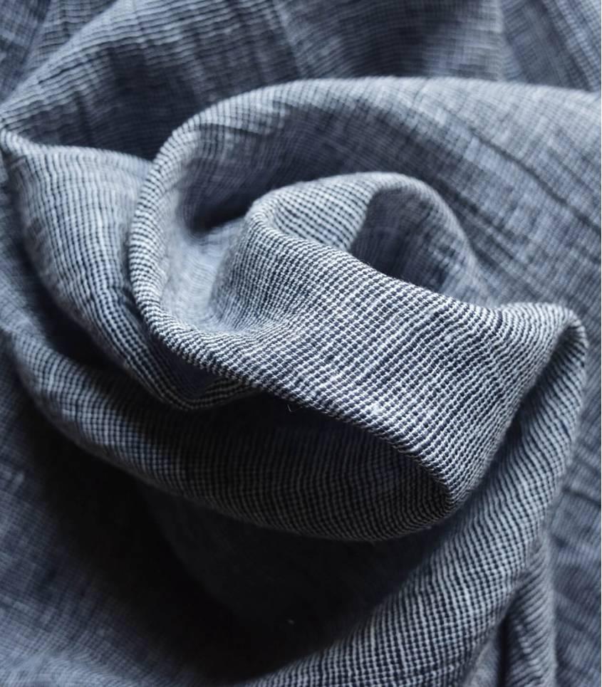 Tissu lin coton - chambray Navy
