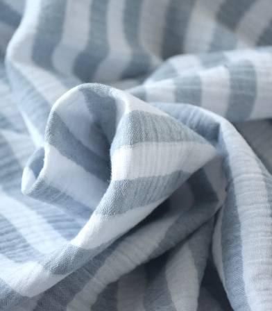 Double gaze rayée Bleu grisé