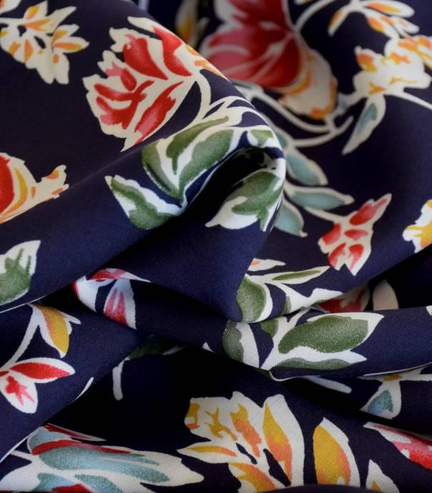 Tissu viscose Flowers & Leaves - Night