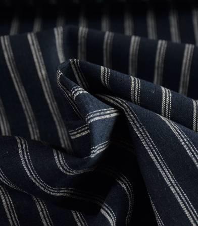 Tissu lin & coton rayure Médina marine