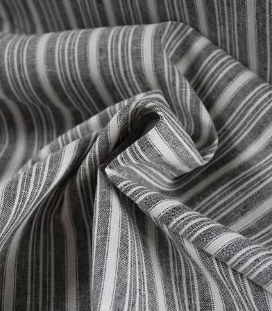 Tissu lin & coton rayure Médina écrue