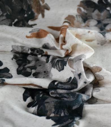 Tissu jersey viscose lin - Hortensia Sepia