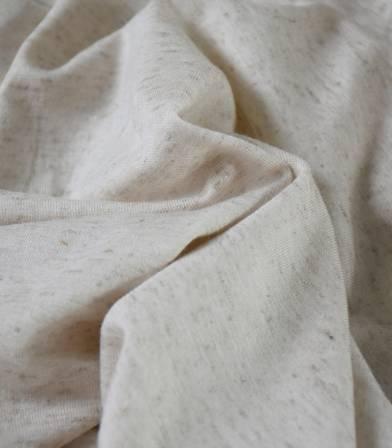 Tissu jersey viscose lin - Ecru chiné