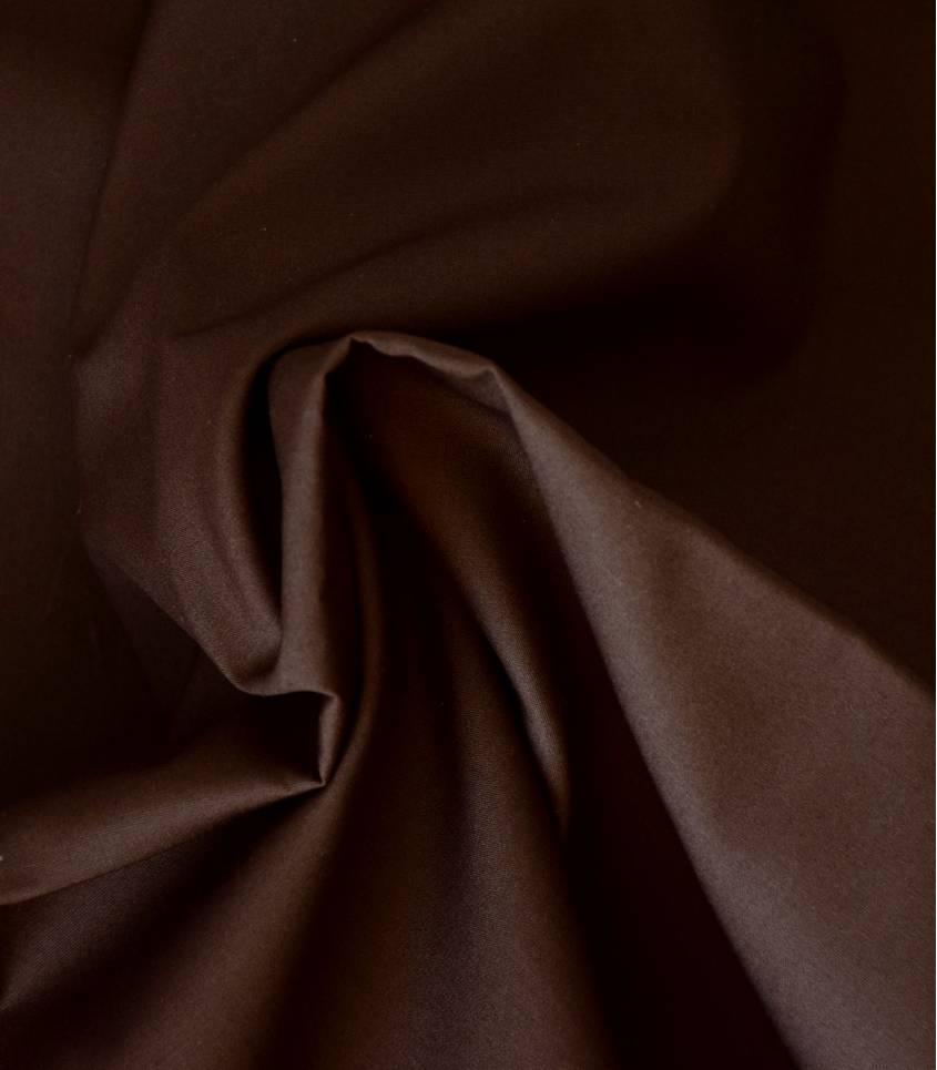 Tissu popeline de coton marron chocolat