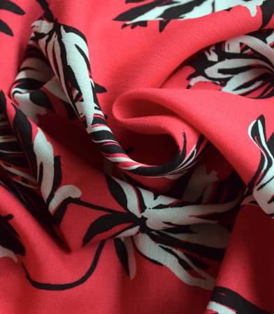 Tissu viscose Flower Ethnic - Red