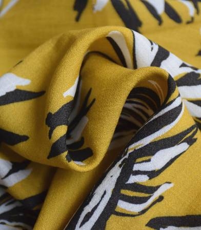 Tissu viscose Flower Ethnic - Yellow