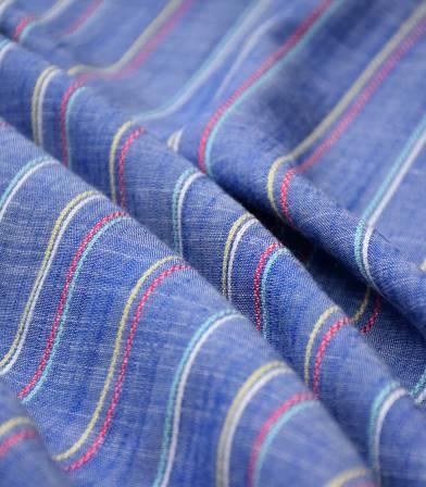Tissu viscose rayure Deauville - Saphir
