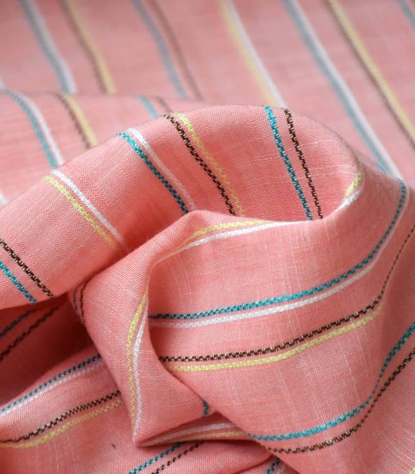 Tissu viscose rayure Deauville - Corail