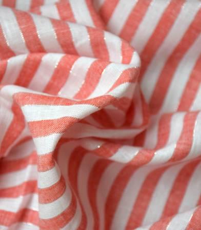 Tissu lin rayure Margaret - Carnaval