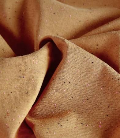 Tissu jersey chiné multico fluo - caramel