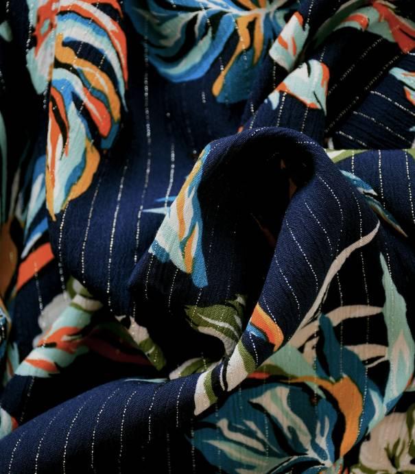 Tissu viscose Tropique  - Navy