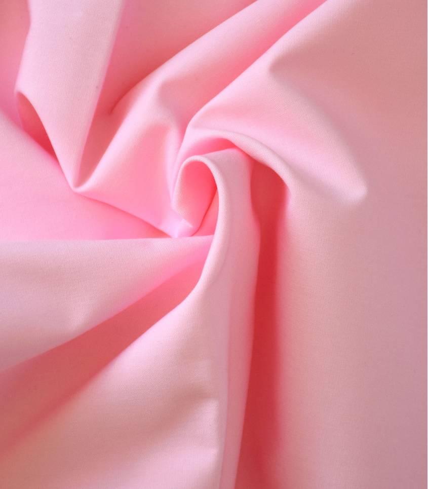 Tissu popeline de coton rose dragée