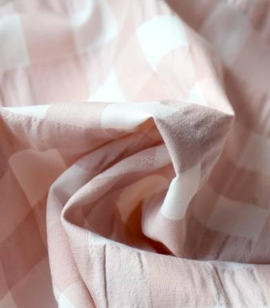 Tissu Vichy crépon pink sand