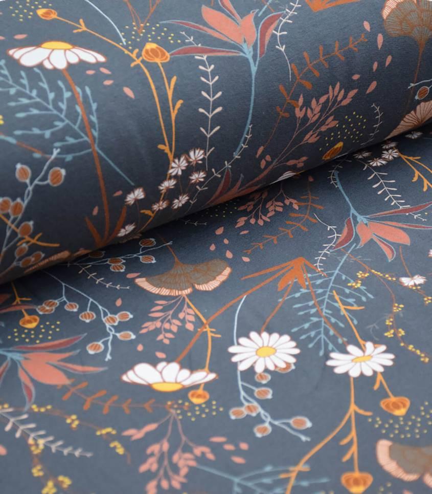 Tissu French terry Flower field - Bleu nuit