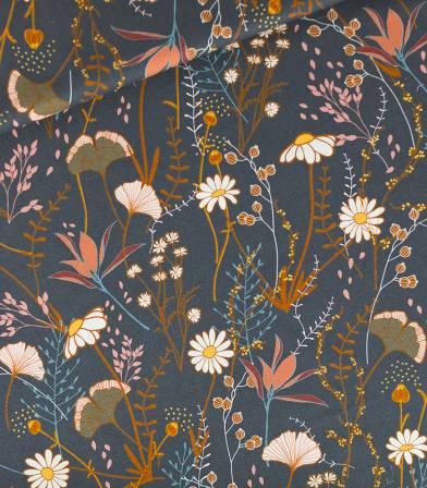 Tissu Sergé Flower field - Bleu nuit