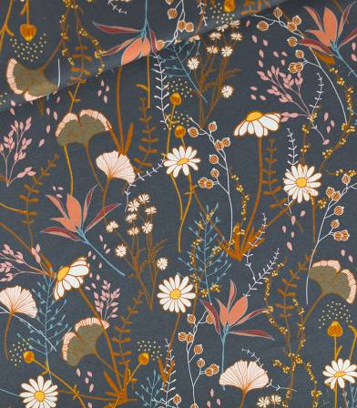 Tissu Serge gabardine Flower field - Bleu nuit
