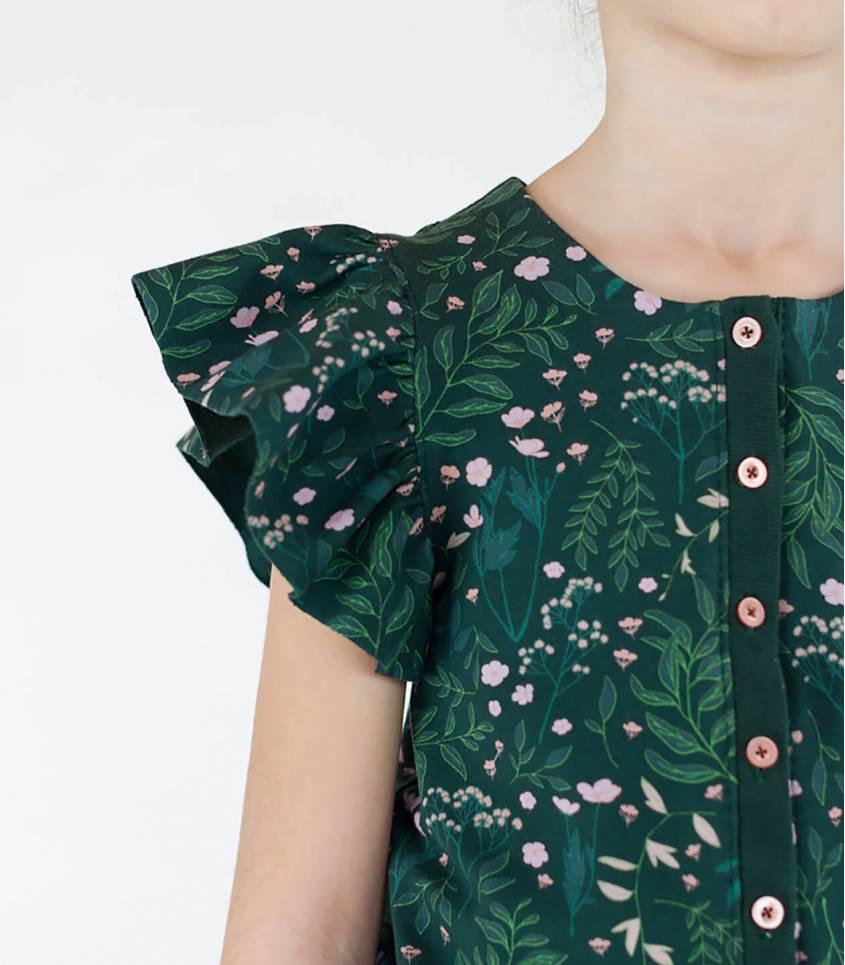 Tissu French terry Flower gardeb - Vert épinette
