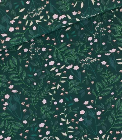 Tissu French terry Flower garden - Vert épinette