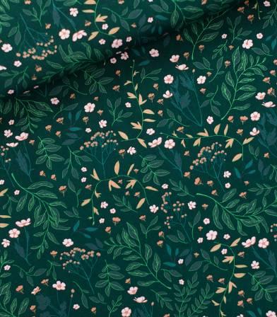 Tissu Serge gabardine Garden flower - Vert épinette
