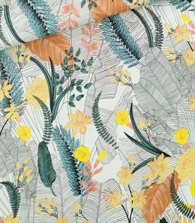 Tissu viscose Tropic flowers - Bleu craie
