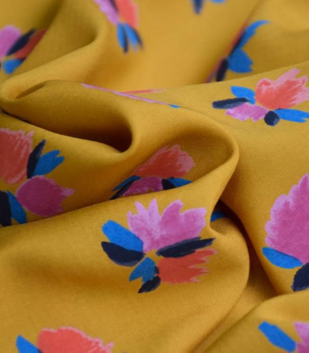 Tissu viscose Wild flowers - ocre