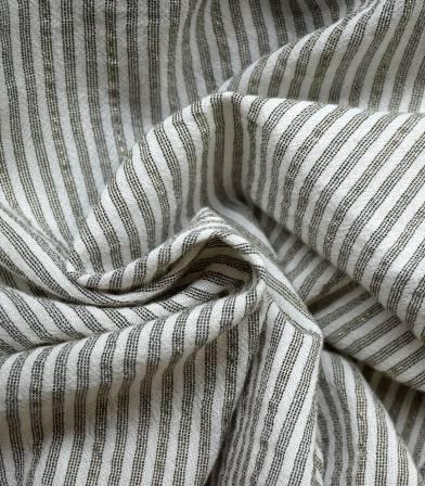 Tissu coton rayures - noire irisée or