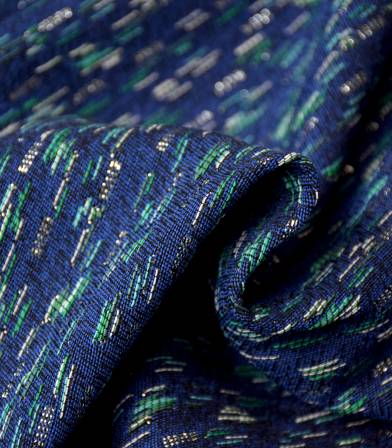 Tissu jacquard Folkar - Vert Bleu