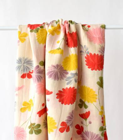 Tissu viscose Lin - Japanese flowers