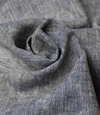 Tissu lin viscose - chambray bleu marine
