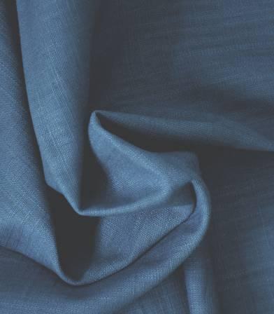 Tissu lin bleu orage