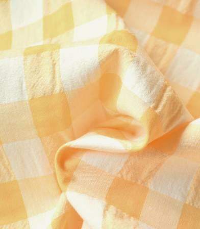 Tissu Vichy crépon jaune