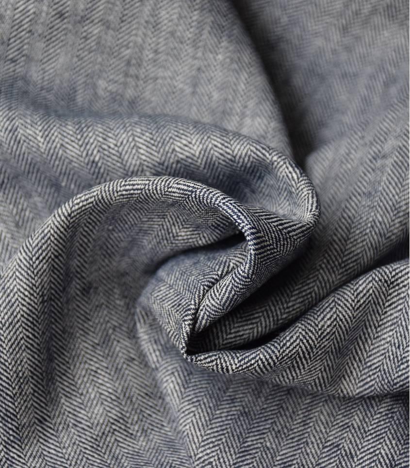 Tissu Lin coton - Chevrons Marine